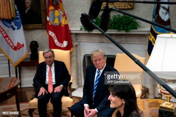 UN Secretary General Antonio Guterres US President Donald Trump and US Ambassador to the UN Nikki Haley wait for a meeting with other dignitaries in...