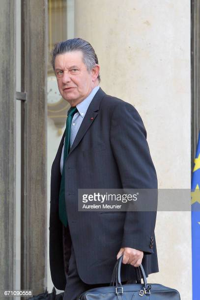 Secretary General at the Elysee Jean Pierre Jouyet arrives at Elysee Palace for a defense council on April 21 2017 in Paris France One police officer...
