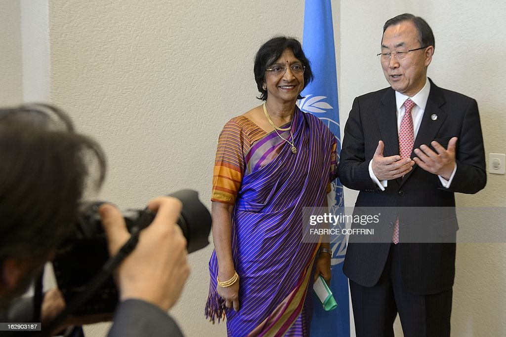 UN Secretary General Ban Ki Moon (R) gestures next to UN High Commissioner for Human Rights Navi Pillay during a meeting priro to session of the UN Human Rights Council on March 1, 2013 in Geneva.