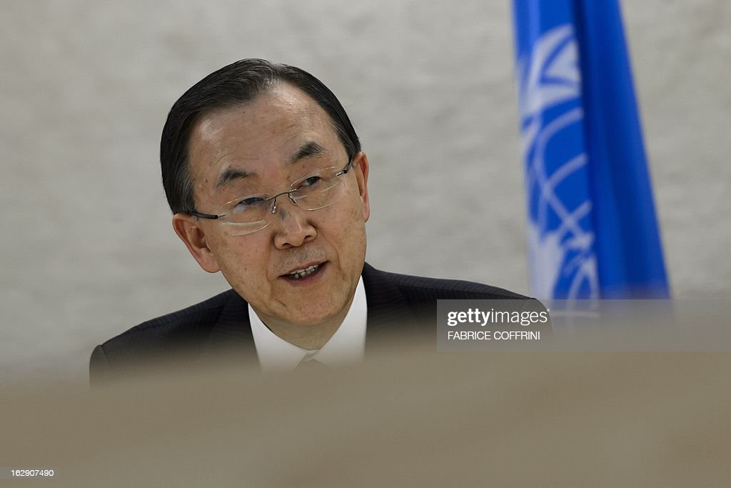 UN Secretary General Ban Ki-moon addresses the United Nations Human Rights Council on March 1, 2013 in Geneva.