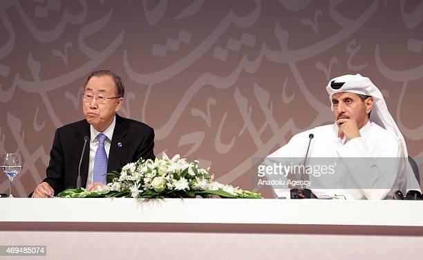 Secretary General Ban Kimoon and Qatar's Prime Minister Abdullah bin Nasser bin Khalifa Al Thani hold a press conference after the opening day of...