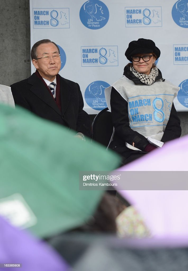 U.N. Secretary General Ban Ki-moon and <a gi-track='captionPersonalityLinkClicked' href=/galleries/search?phrase=Susan+Sarandon&family=editorial&specificpeople=202474 ng-click='$event.stopPropagation()'>Susan Sarandon</a> attend the March On March 8 at United Nations on March 8, 2013 in New York City.