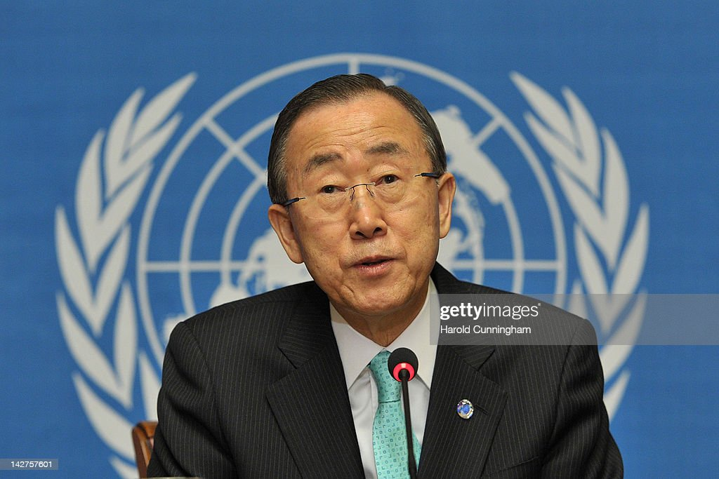 UN Secretary General Ban Ki-moon attends a press conference at the United Nations Office in Geneva on April 12, 2012 in Geneva, Switzerland. Ban Ki-moon told members of the press he is working to send observers to Syria as soon as possible.