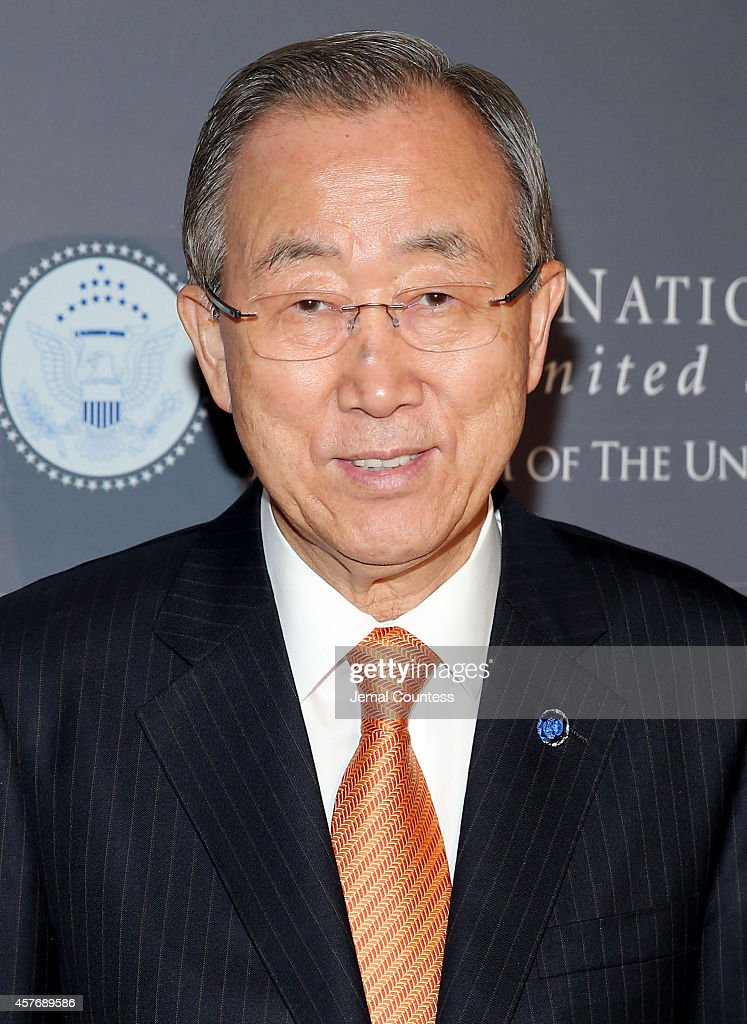 UN Secretary General <a gi-track='captionPersonalityLinkClicked' href=/galleries/search?phrase=Ban+Ki-moon&family=editorial&specificpeople=206144 ng-click='$event.stopPropagation()'>Ban Ki-moon</a> attends the 2014 Global Leadership Dinner at Cipriani 42nd Street on October 22, 2014 in New York City.