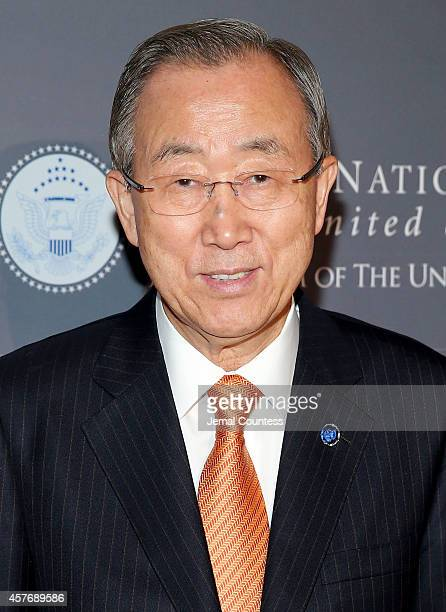 Secretary General Ban Kimoon attends the 2014 Global Leadership Dinner at Cipriani 42nd Street on October 22 2014 in New York City
