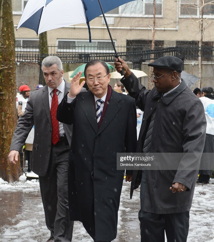 U.N. Secretary General Ban Ki-moon attends the March On March 8 at United Nations on March 8, 2013 in New York City.