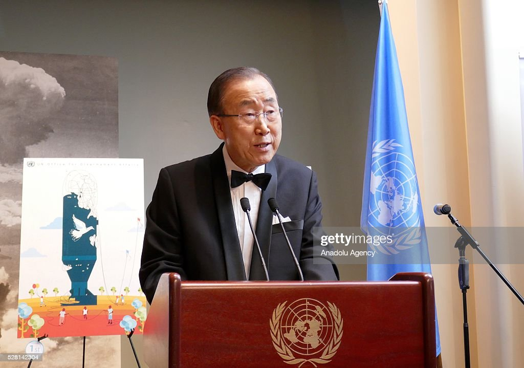 UN Secretary General Ban Ki-Moon delivers a speech and congratulates the winners of 'Disarmament Poster for Peace' competition, organized by United Nations Disarmament Department during a reception held for ranking the highest competitors, at United Nations Office in New York, USA on May 4, 2016.