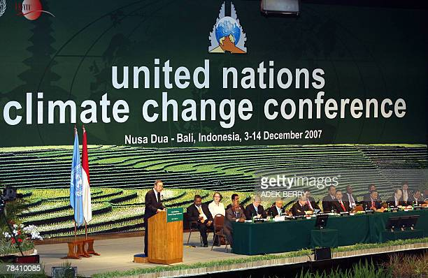 UN Secretary General Ban KiMoon delivers a speech during the opening of UN Climate Change Conference 2007 in Nusa Dua on the island of Bali 12...