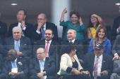 Secretary General Ban KiMoon FIFA President Joseph S Blatter and Brazilian President Dilma Rousseff attend the 2014 FIFA World Cup Brazil Group A...