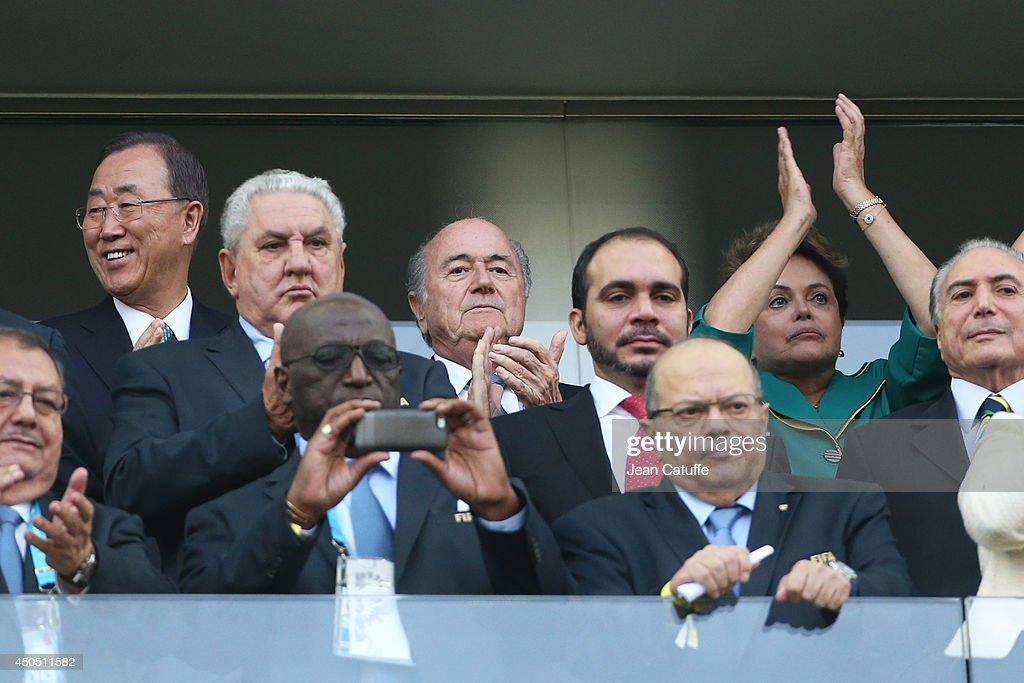 UN Secretary General Ban Ki-Moon, FIFA President Joseph S. Blatter and Brazilian President Dilma Rousseff attend the 2014 FIFA World Cup Brazil Group A match between Brazil and Croatia at Arena de Sao Paulo on June 12, 2014 in Sao Paulo, Brazil.