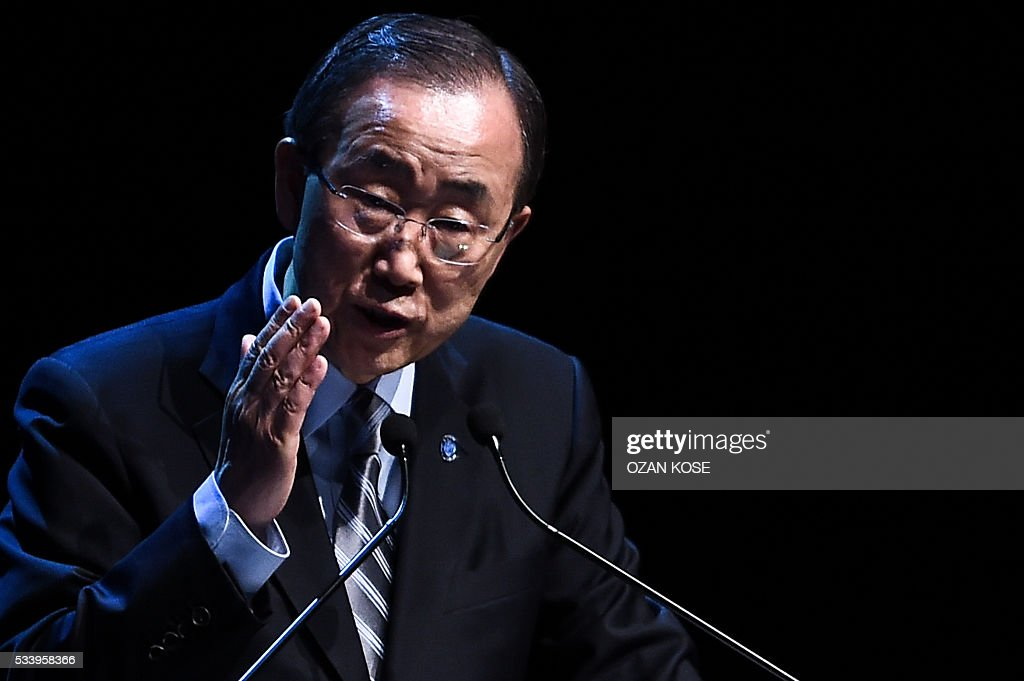 UN secretary general Ban Ki-moon gestures during a press conference on May 24, 2016 during the World Humanitarian Summit closing cerenomy in Istanbul. UN Secretary General Ban Ki-moon on Tuesday said he was disappointed most top world leaders had stayed away from the first humanitarian summit in Istanbul, saying concrete political action was now needed. / AFP / OZAN