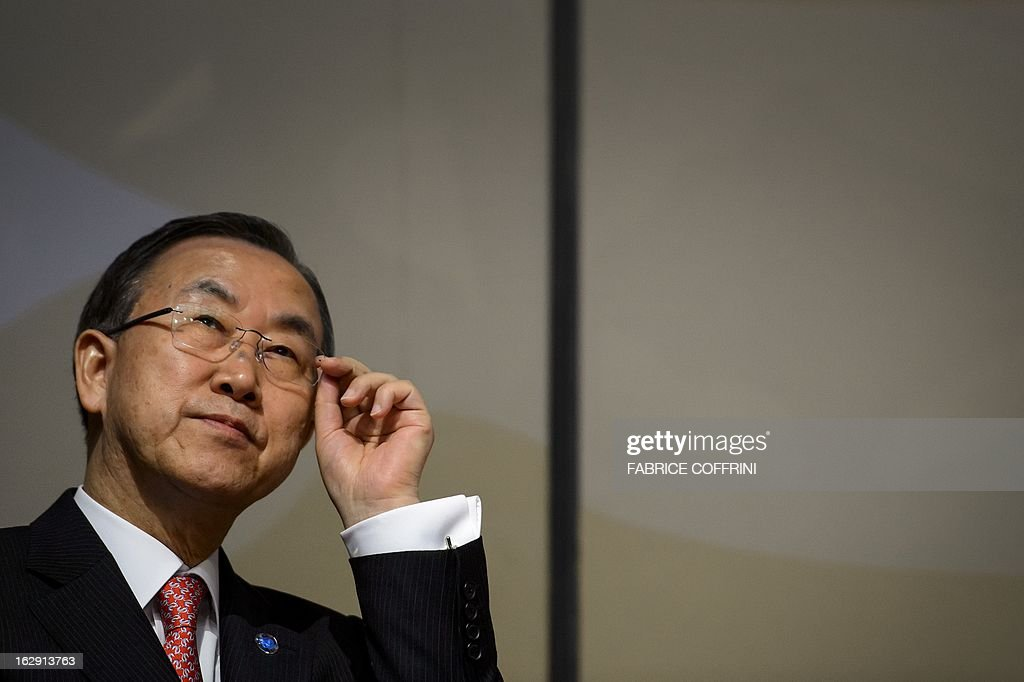 UN Secretary General Ban Ki-moon gestures priot to give a speech on March 1, 2013 in Bern, during the 2013 Sergio Vieira de Mello Prize Ceremony. AFP PHOTO / FABRICE COFFRINI