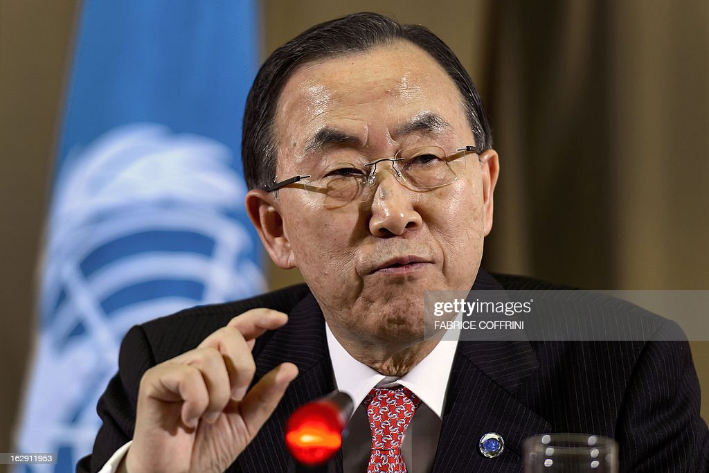 UN Secretary General Ban Ki-moon gestures while speaking during a press conference after a session of the United Nations Human Rights Council on March 1, 2013 in Geneva.
