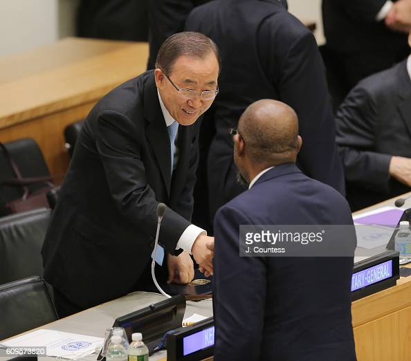 Secretary General Ban Kimoon greets actor/activist Forest Whitaker as he arrives at the UN Peacekeeping Fund discussion at United Nations on...