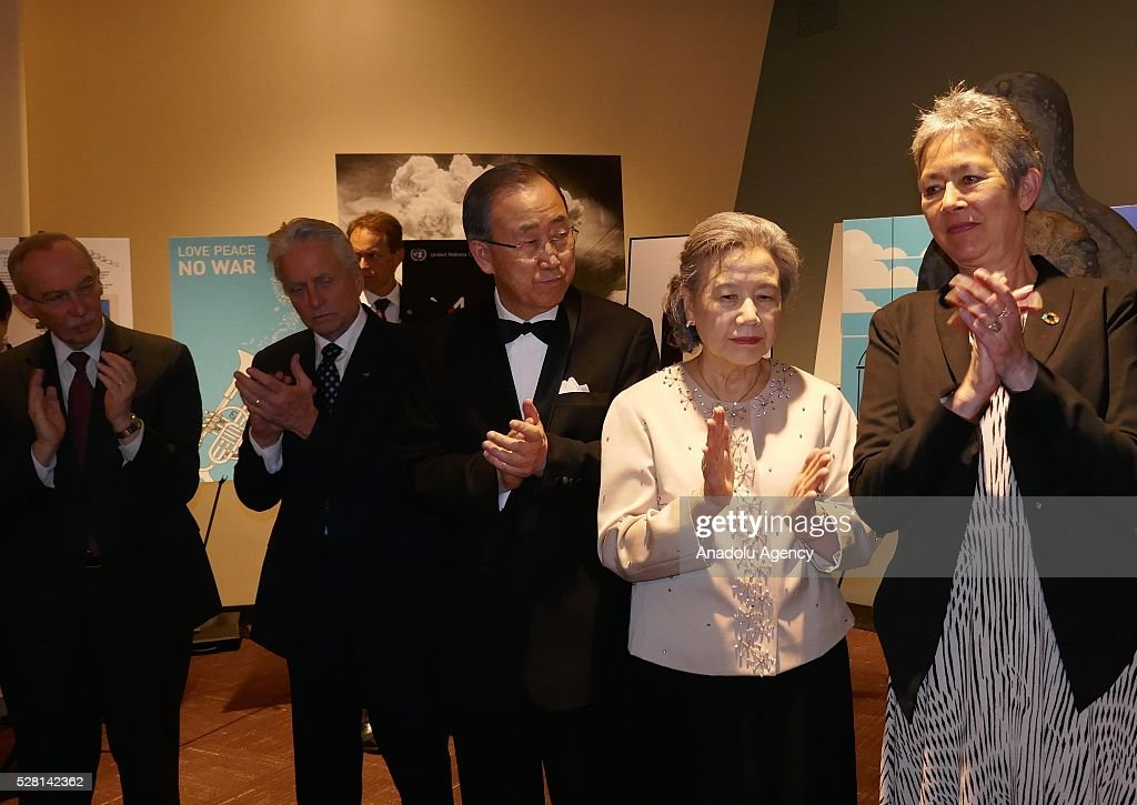UN Secretary General Ban Ki-Moon (C), his wife Ban Soon-taek (2nd R), President of the United Nations General Assembly Mogens Lykketoft (2nd L) and his wife Mette Holm (R) applaud during a reception, held for ranking the highest competitors of 'Disarmament Poster for Peace' competition at United Nations Office in New York, USA on May 4, 2016.
