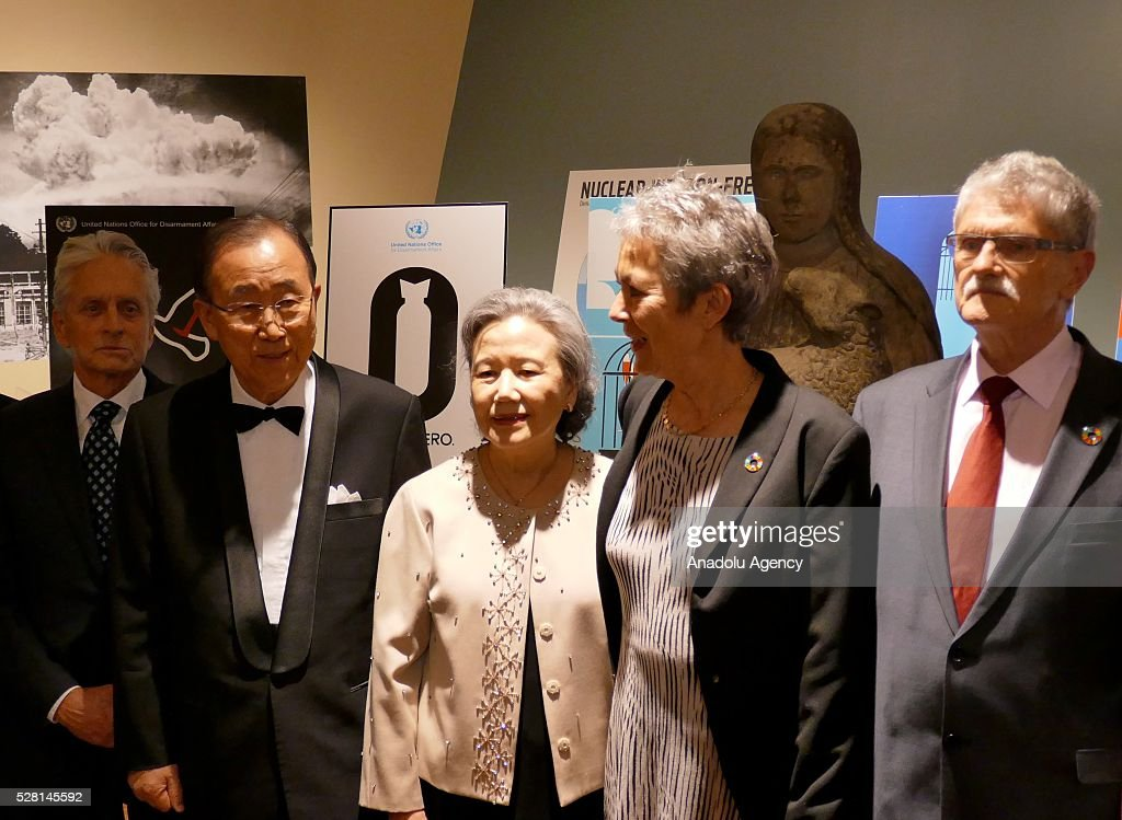UN Secretary General Ban Ki-Moon (2nd L), his wife Ban Soon-taek (C), UN Messenger of Peace Michael Douglas (L), President of the United Nations General Assembly Mogens Lykketoft (R) and his wife Mette Holm (2nd R) are seen during a reception, held for ranking the highest competitors at United Nations Office in New York, USA on May 4, 2016.
