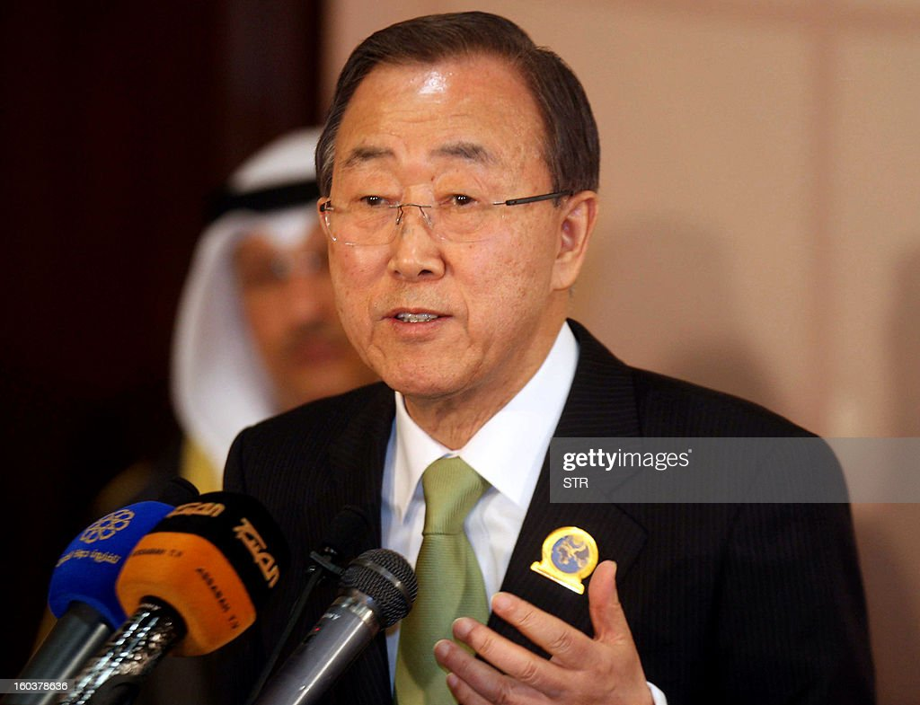 UN secretary general Ban Ki-Moon holds a press conference after the International Humanitarian Pledging Conference for Syria in Kuwait City on January 30, 2013. International donors pledged more than the targeted $1.5 billion in aid for stricken Syrians, UN chief Ban Ki-moon said, warning of a 'catastrophic' situation in the war-torn country.