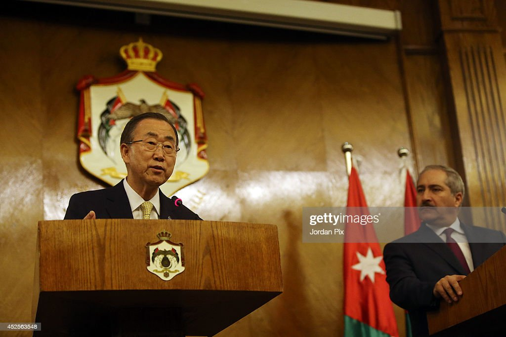 UN Secretary General Ban Ki-moon holds a press conference with Jordanian Foreign minister Nasser Joudeh after meeting with King Abdullah of Jordan in Amman, Jordan, on July 23, 2014.