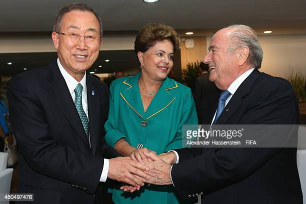 Secretary General Ban KiMoon pose with Brazilian President Dilma Rousseff and FIFA Presdient Joseph S Blatter before the 2014 FIFA World Cup Brazil...