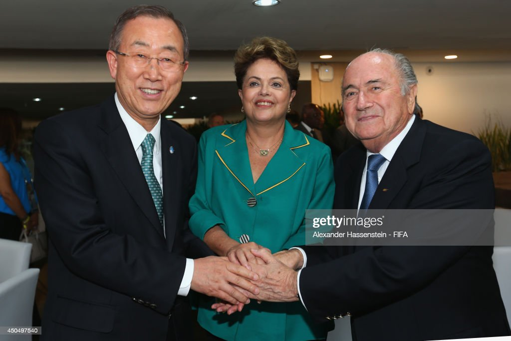 UN Secretary General <a gi-track='captionPersonalityLinkClicked' href=/galleries/search?phrase=Ban+Ki-Moon&family=editorial&specificpeople=206144 ng-click='$event.stopPropagation()'>Ban Ki-Moon</a> pose with Brazilian President <a gi-track='captionPersonalityLinkClicked' href=/galleries/search?phrase=Dilma+Rousseff&family=editorial&specificpeople=1955968 ng-click='$event.stopPropagation()'>Dilma Rousseff</a> and FIFA Presdient Joseph S. Blatter before the 2014 FIFA World Cup Brazil Group A match between Brazil and Croatia at Arena de Sao Paulo on June 12, 2014 in Sao Paulo, Brazil.