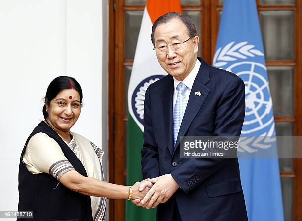 Secretary General Ban Kimoon shakes hands with External Affairs Minister Sushma Swaraj ahead of their meeting on January 12 2015 in New Delhi India