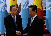 UN Secretary General Ban Kimoon shakes hands with Vietnamese Prime Minister Nguyen Tan Dung as they meet at Dung's Cabinet Office in Hanoi on May 22...