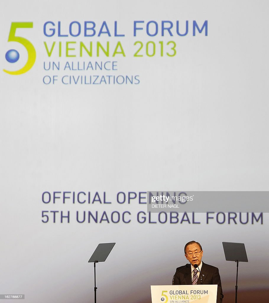 UN Secretary General Ban Ki-Moon speaks at the opening session of the 5th Global Forum - UN Alliance of Civilizations on February 27, 2013 in Vienna. According to the organizers, the meeting running from February 27 to 28 brings together decision-makers, experts, and a variety of stakeholders in the field of intercultural and interreligious dialogue from all over the world. AFP PHOTO / DIETER NAGL