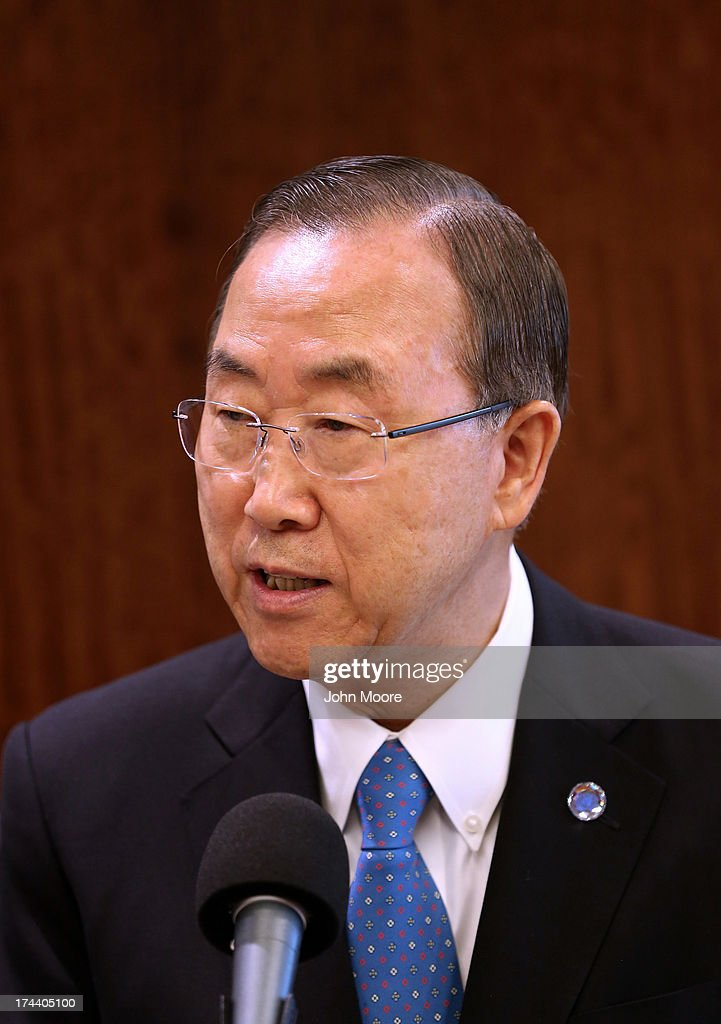 UN Secretary General Ban Ki-moon speaks before a meeting of the UN Security Council on July 25, 2013 in New York City. U.S. Secretary of State John Kerry expressed American support for the the Secretary General's Peace, Security and Cooperation Framework for the Democratic Republic of the Congo and the region.