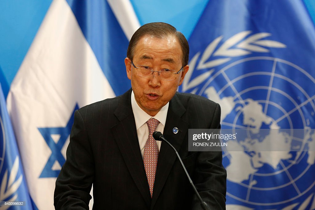 UN Secretary General Ban Ki-moon speaks during a joint press conference with the Israeli prime minister in Jerusalem on June 28, 2016. Ban is on an official visit to Israel and the Palestinian territories. / AFP / POOL / RONEN