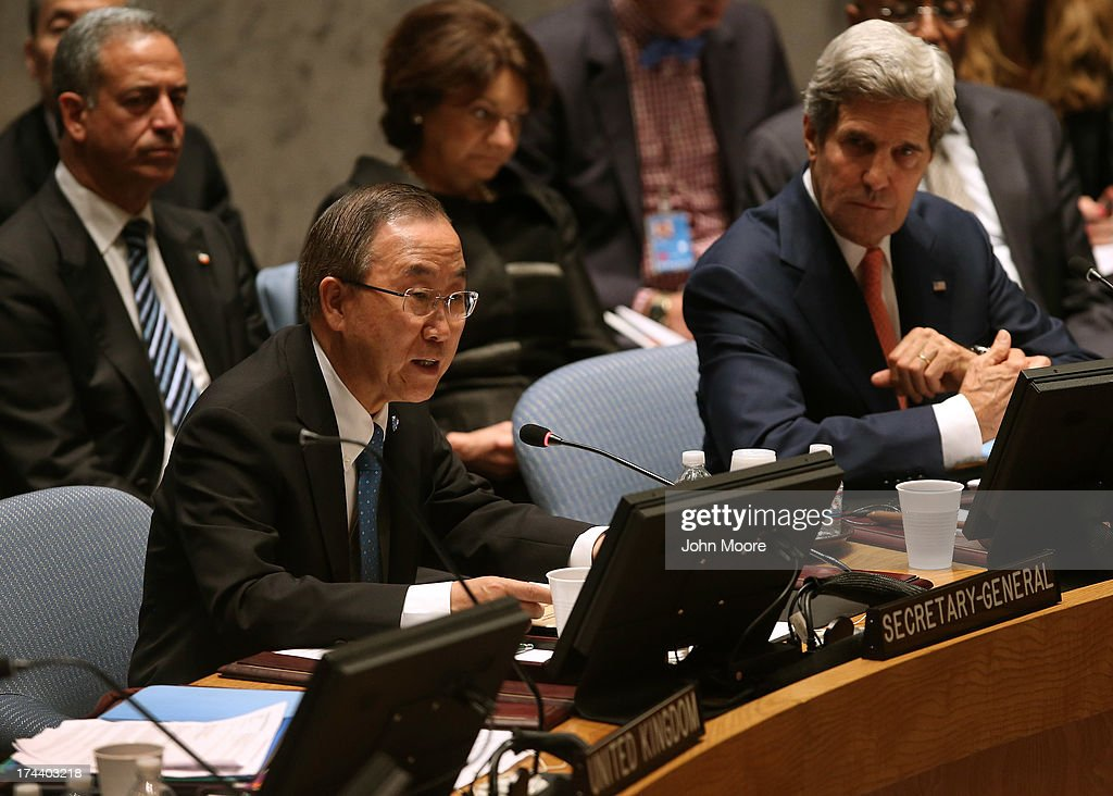 U.N. Secretary General Ban Ki-moon speaks while sitting next to U.S. Secretar of State <a gi-track='captionPersonalityLinkClicked' href=/galleries/search?phrase=John+Kerry&family=editorial&specificpeople=154885 ng-click='$event.stopPropagation()'>John Kerry</a> at a meeting of the UN Security Council on July 25, 2013 in New York City. Kerry expressed American support for the UN Peace, Security and Cooperation Framework for the Democratic Republic of the Congo and the region.