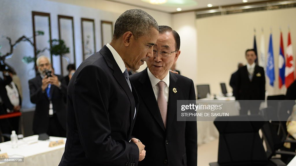 UN Secretary General Ban Ki-moon (centre R) speaks with US President Barack Obama as they take part in a dialogue with world leaders at the G7 Summit in Shima in Mie prefecture on May 27, 2016. A British secession from the European Union in next month's referendum could have disastrous economic consequences, G7 leaders warned on May 27 at the close of the summit in Japan. / AFP / STEPHANE