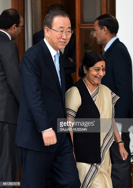 UN Secretary General Ban Kimoon walsk alongside Indian External Affairs Minister Sushma Swaraj ahead of their meeting in New Delhi on January 12 2015...