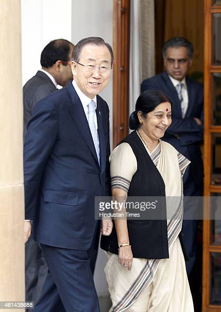 Secretary General Ban Kimoon with External Affairs Minister Sushma Swaraj ahead of their meeting on January 12 2015 in New Delhi India