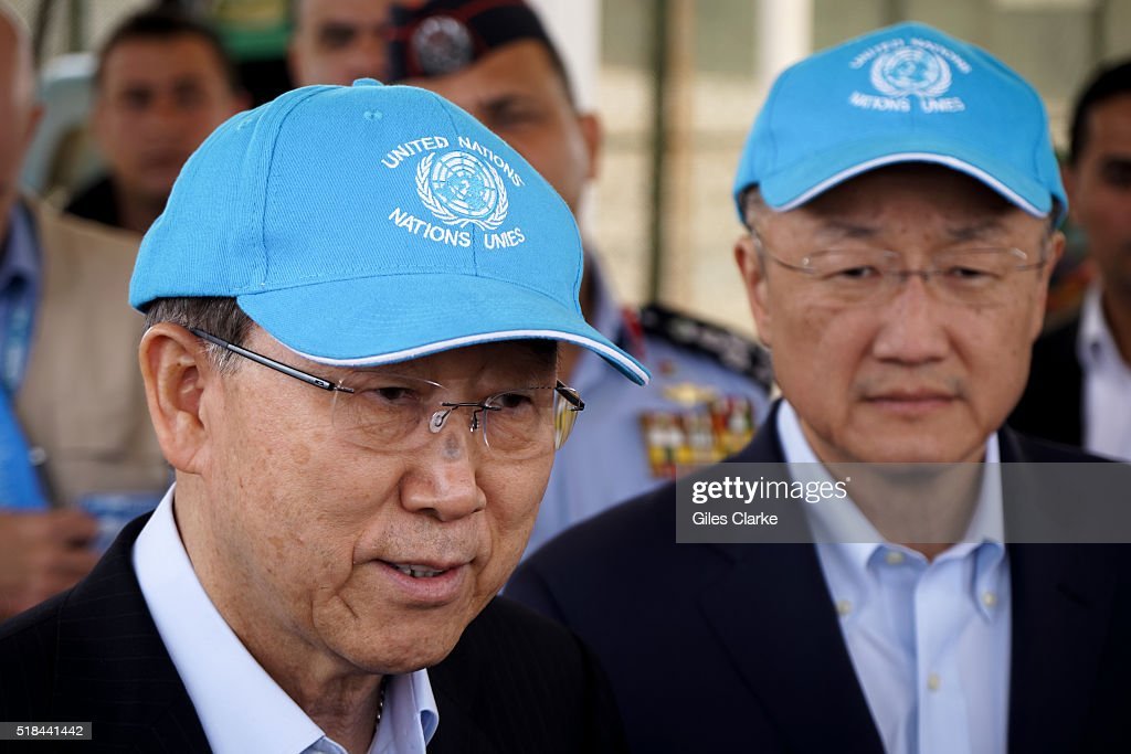Secretary General Ban Kimoon with the President of the World Bank Group Jim Yong Kim at the Zaatari Syrian Refugee Camp in Jordan