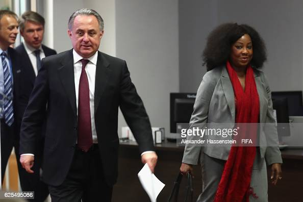 Secretary General Fatma Samoura arrives with Vitaly Mutko Minister for Sport and chairman of the LOC and Deputy Chairman of the Supervisory Board for...