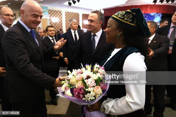 Secretary General Fatma Samoura welcomes FIFA President Gianni Infantino and Vitaly Mutko Minister for Sport and chairman of the LOC and Deputy...