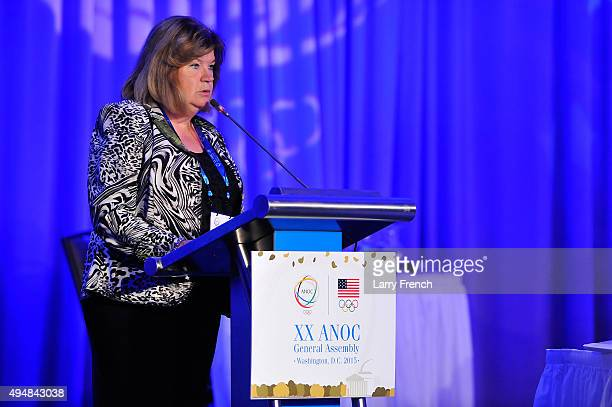 Secretary General Gunilla Lindberg speaks at the the XX ANOC General Assembly 2015 at the Hilton Hotel on October 29 2015 in Washington DC