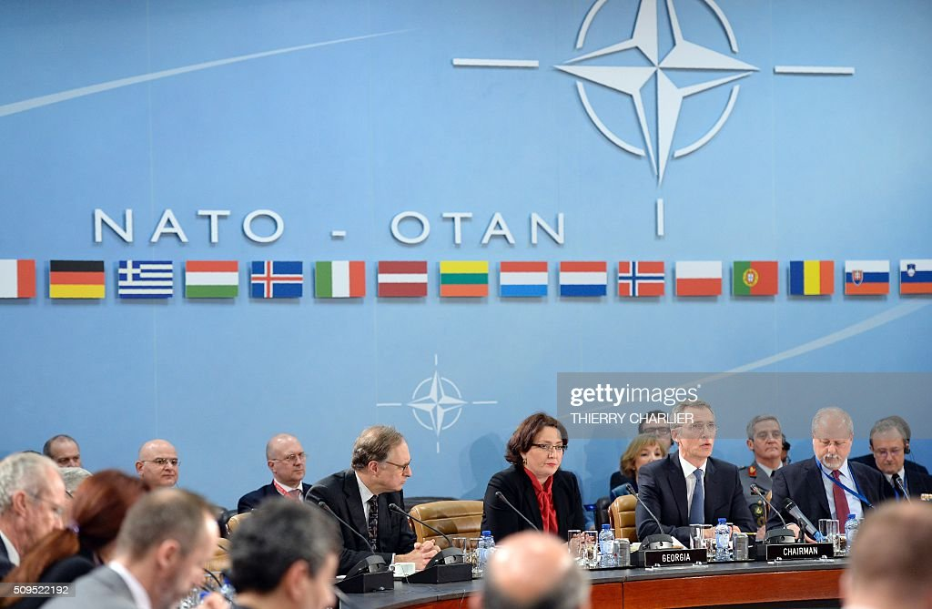 Secretary General Jens Stoltenberg and Georgian Defence Minister Tina Khidasheli take part in a NATOGeorgia Commission meeting at the NATO...