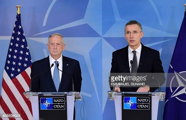Secretary General Jens Stoltenberg and US Defence Minister James Mattis address the press during a NATO defence ministers' meetings at the NATO...