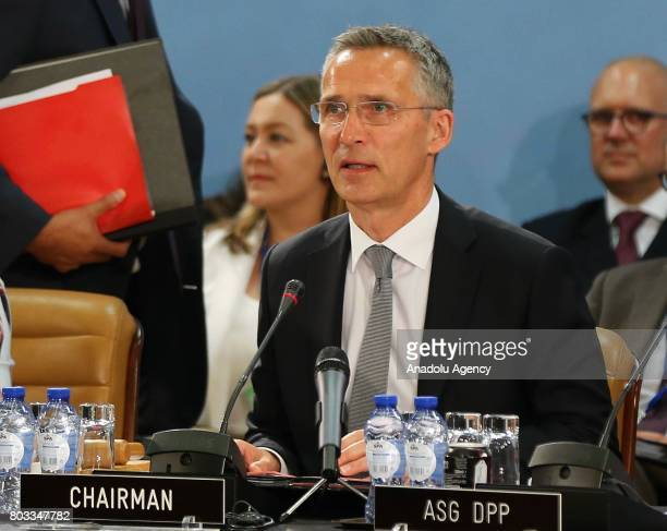 Secretary General Jens Stoltenberg attends a NATO Defence Council meeting at the NATO headquarters in Brussels Belgium on June 29 2017