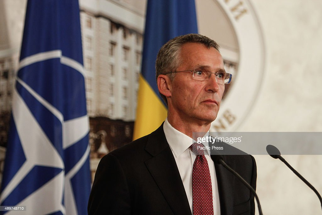 Secretary General <a gi-track='captionPersonalityLinkClicked' href=/galleries/search?phrase=Jens+Stoltenberg&family=editorial&specificpeople=558620 ng-click='$event.stopPropagation()'>Jens Stoltenberg</a> gestures during the discussion of Ukraine's reform efforts to the current situation at Eastern Ukraine and the future NATO-Ukraine technical cooperation defense.