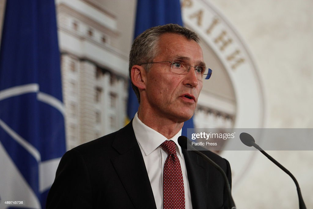 Secretary General Jens Stoltenberg gestures during the discussion of Ukraine's reform efforts to the current situation at Eastern Ukraine and the future NATO-Ukraine technical cooperation defense.