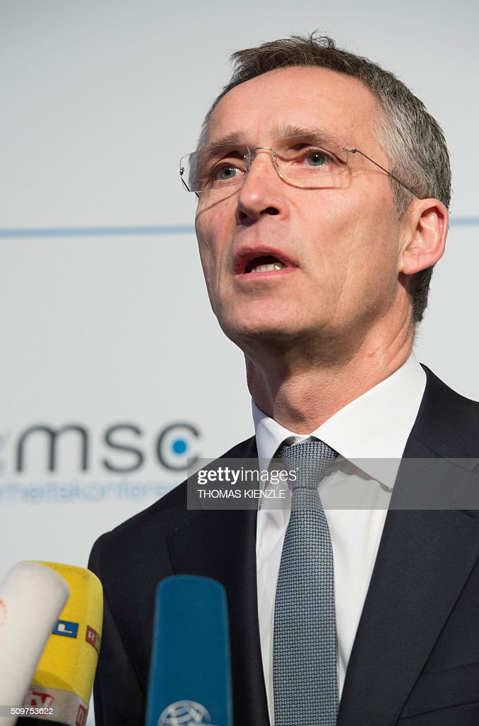 Secretary General Jens Stoltenberg gives a statement on the first day of the 52nd Munich Security Conference (MSC) in Munich, southern Germany, on February 12, 2016. / AFP / THOMAS KIENZLE