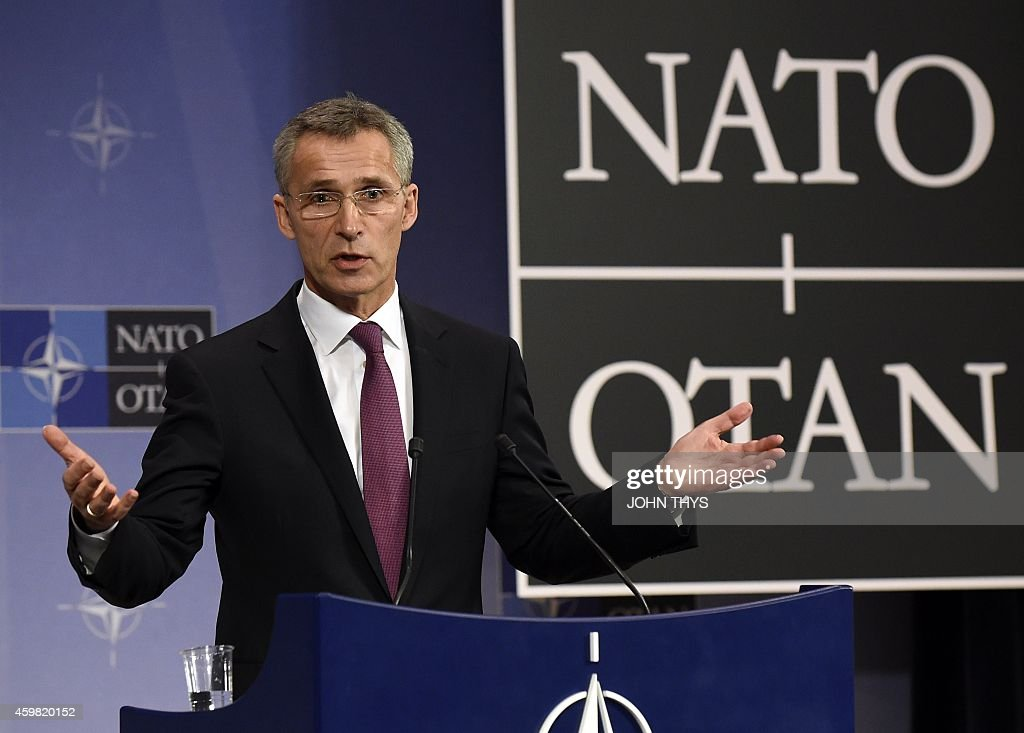 NATO secretary general Jens Stoltenberg holds a press conference during a NATO foreign ministers meeting at the NATO headquarters in Brussels on...
