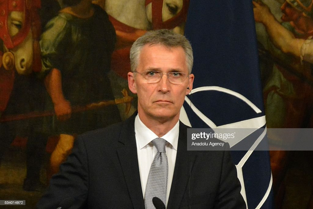 Secretary General Jens Stoltenberg listens during a joint press conference with Italian Prime Minister Matteo Renzi after their talks at Chigi palace, in Rome, Italy on May 24, 2016.