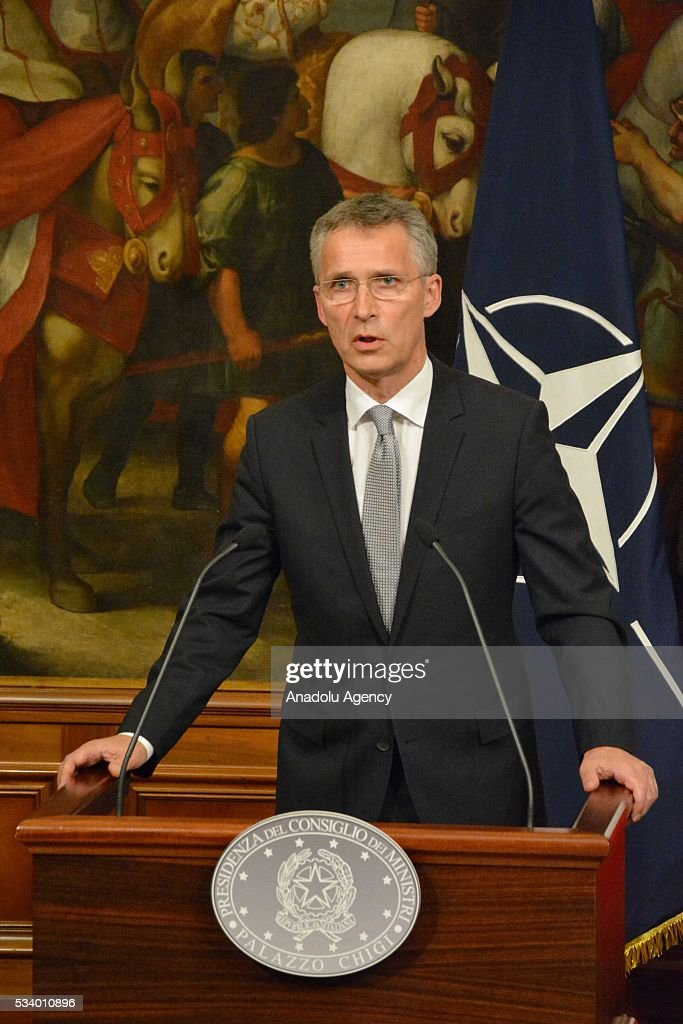 Secretary General Jens Stoltenberg speaks during a joint press conference with Italian Prime Minister Matteo Renzi after their talks at Chigi palace, in Rome, Italy on May 24, 2016.