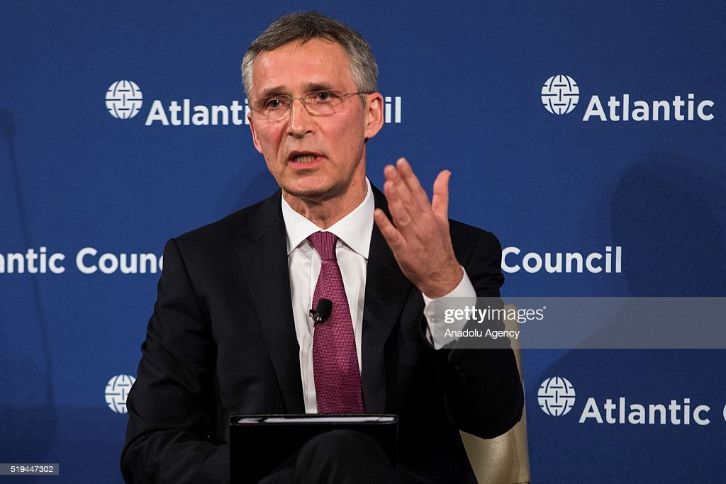 Secretary General Jens Stoltenberg speaks on the state of affairs with NATO during the Atlantic Council at the Ritz Carlton in Washington, USA on April 6, 2016.