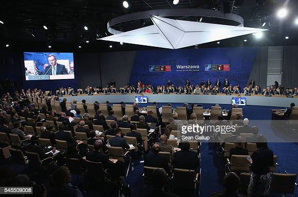 Secretary General Jens Stoltenberg speaks the meeting of the North Atlantic Council at the Warsaw NATO Summit on July 8 2016 in Warsaw Poland NATO...