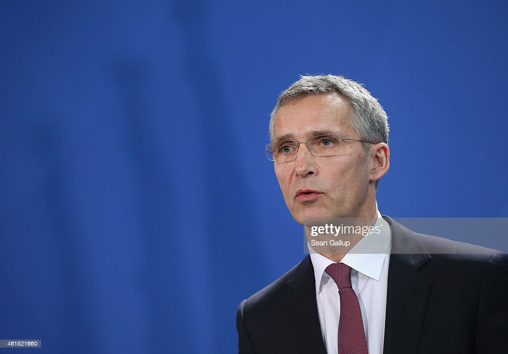 Secretary General Jens Stoltenberg speaks to the media with German Chancellor Angela Merkel (not pictured) following talks at the Chancellery on January 14, 2015 in Berlin, Germany. Stoltenberg is on his first official visit to meet with Merkel in Berlin since he took office.