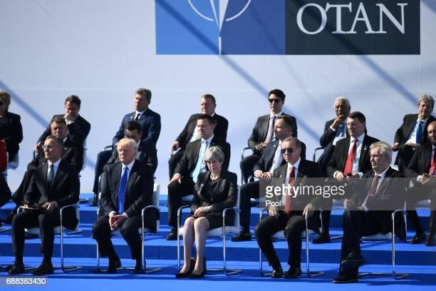 NATO Secretary General Jens Stoltenberg US President Donald Trump Britain's Prime Minister Theresa May Turkish President Recep Tayyip Erdogan Czech...